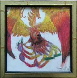 Pheonix Mythical Oils & Graphite Art by Lucy Jane